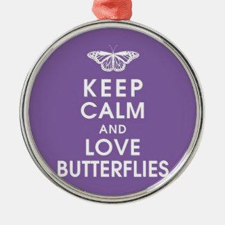 Keep Calm Love Butterflies Christmas Ornament