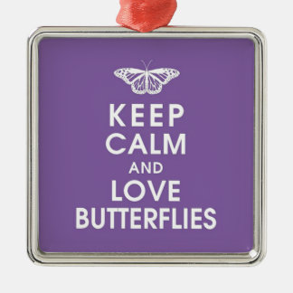 Keep Calm Love Butterflies Silver-Colored Square Decoration