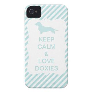 Keep Calm & Love Doxies Blue Stripe iPhone 4 Case-Mate Case