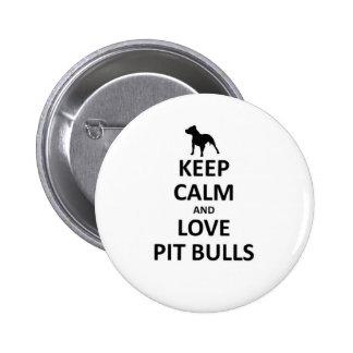 Keep calm love pit Bulls 6 Cm Round Badge