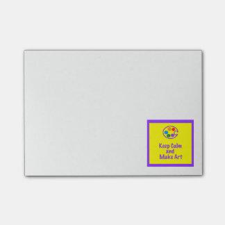 Keep Calm - Make Art  Yellow Design 2 Post-it Post-it Notes