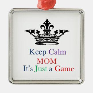 Keep Calm Mom Silver-Colored Square Decoration