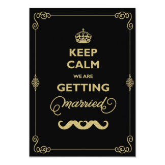 Keep Calm Moustache Classic Vintage Gay Wedding 13 Cm X 18 Cm Invitation Card