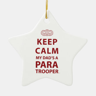 KEEP CALM MY DAD'S  A PARATROOPER Double-Sided STAR CERAMIC CHRISTMAS ORNAMENT