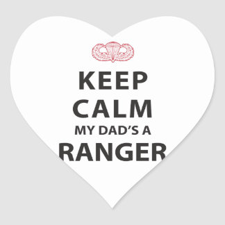 KEEP CALM MY DAD'S A RANGER HEART STICKER