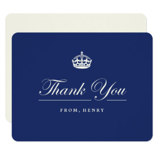 Keep Calm Navy Blue Birthday Party Thank You Card