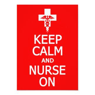 Keep Calm & Nurse On invitation, customize 13 Cm X 18 Cm Invitation Card