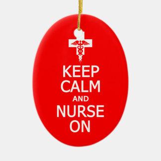 Keep Calm & Nurse On ornament, customize Ceramic Oval Decoration