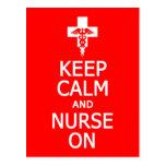 Keep Calm & Nurse On postcard, customize