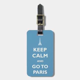 Keep Calm Paris Blue Luggage Tag