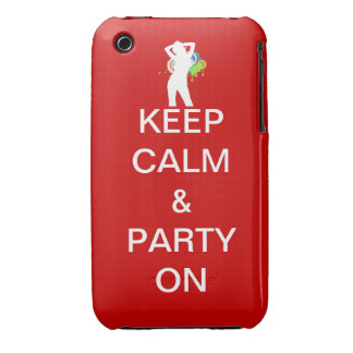keep calm & party on iPhone 3 case