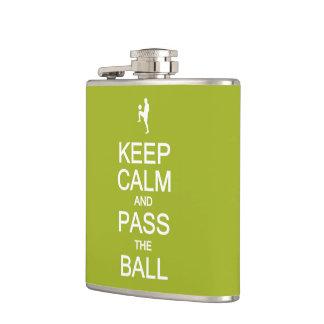 Keep Calm & Pass The Ball custom flask