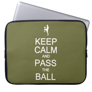 Keep Calm & Pass The Ball custom laptop sleeve