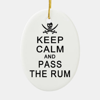 Keep Calm & Pass The Rum ornament, customize Christmas Ornament