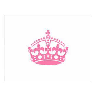 Keep calm pink victory crown postcard