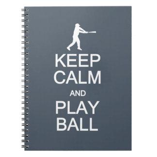 Keep Calm & Play Ball custom color notebook