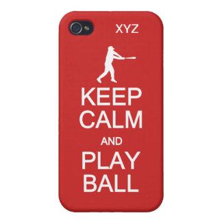 Keep Calm & Play Ball custom monogram cases iPhone 4 Covers