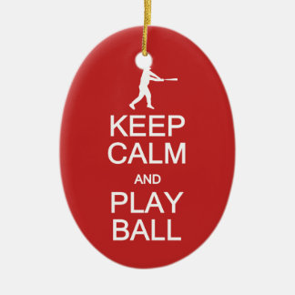 Keep Calm & Play Ball custom ornament