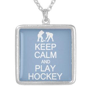 Keep Calm & Play Hockey custom color necklace