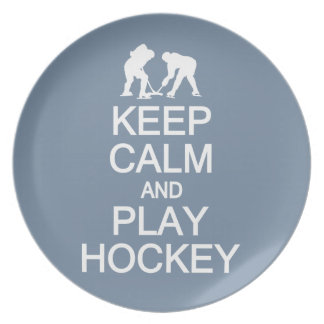 Keep Calm & Play Hockey custom color plates