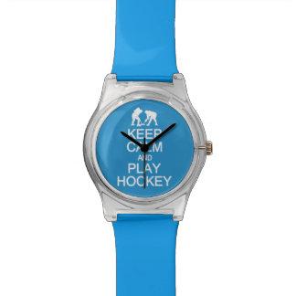 Keep Calm & Play Hockey custom color watches
