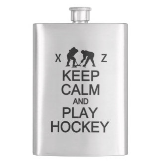 Keep Calm & Play Hockey custom flask