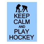 Keep Calm & Play Hockey custom postcard