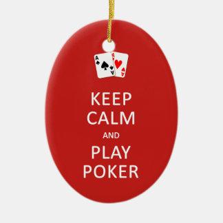 KEEP CALM & PLAY POKER custom ornament