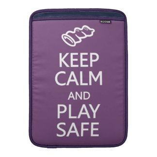 Keep Calm & Play Safe custom color MacBook sleeve