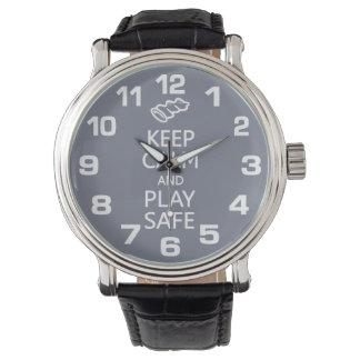 Keep Calm & Play Safe custom color watches
