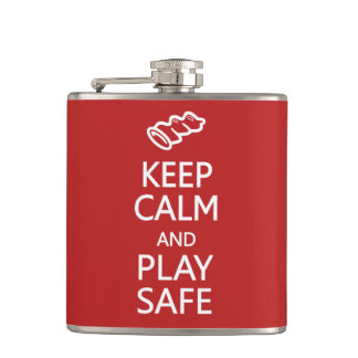Keep Calm & Play Safe custom flask