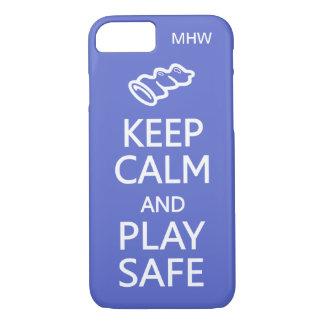 Keep Calm & Play Safe custom monogram & color iPhone 8/7 Case