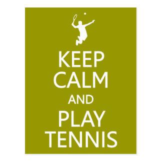 Keep Calm & Play Tennis custom color postcard