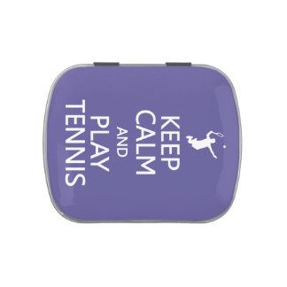 Keep Calm & Play Tennis custom color tins & jars Jelly Belly Candy Tins