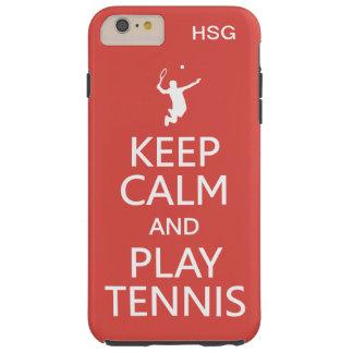 Keep Calm & Play Tennis custom monogram & color Tough iPhone 6 Plus Case