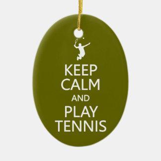 Keep Calm & Play Tennis custom ornament