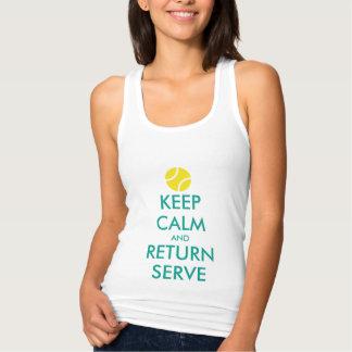 Keep calm return serve tennis tank top for women