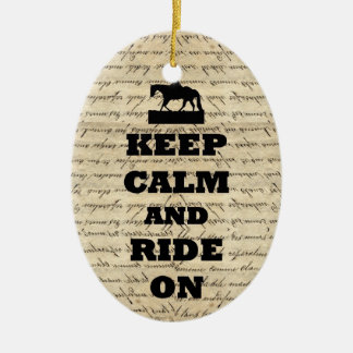 Keep calm & ride on christmas ornament