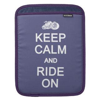 Keep Calm & Ride On custom color iPad sleeve