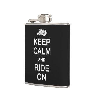 Keep Calm & Ride On custom flask