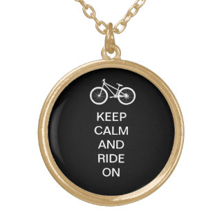 Keep Calm Ride On Gold Plated Necklace