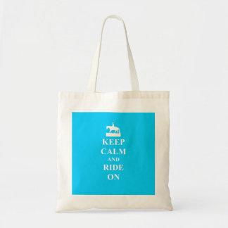 Keep calm ride on light blue bag