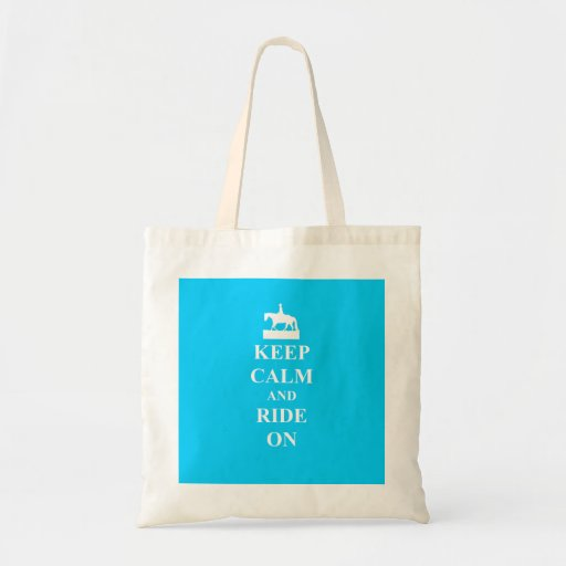 Keep calm & ride on (light blue) bag