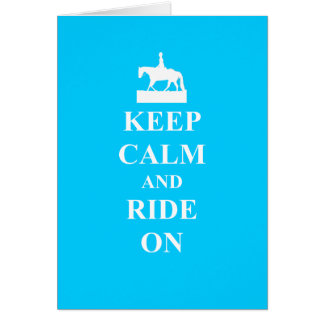 Keep calm & ride on (light blue) card