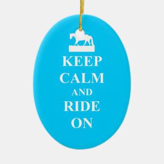Keep calm & ride on (light blue) christmas ornament