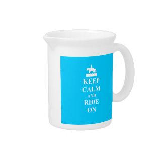 Keep calm & ride on (light blue) pitcher