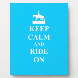 Keep calm & ride on (light blue) plaque