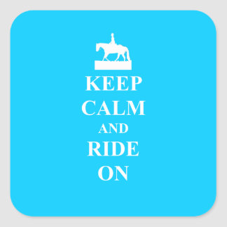 Keep calm & ride on (light blue) square sticker