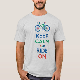 Keep Calm & Ride On mountain bike t shirt primary