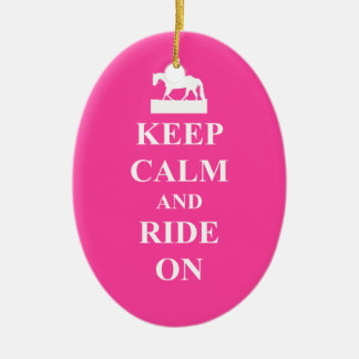 Keep calm & ride on (pink) christmas ornament